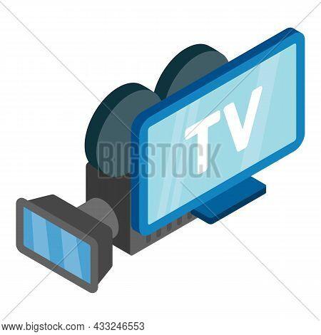 Television Equipment Icon Isometric Vector. Retro Video Camera And Lcd Tv Icon. Television Concept,