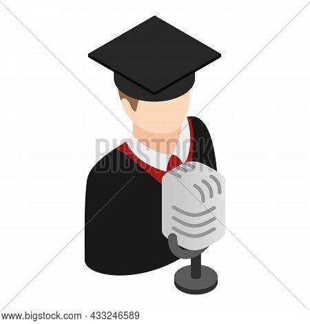 Graduate Speech Icon Isometric Vector. Graduate Stand Near Microphone Icon. Education Concept, Gradu