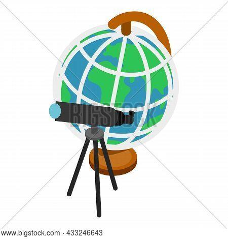 Scientific Equipment Icon Isometric Vector. Black Telescope On Tripod, Desk Globe. Observation And R