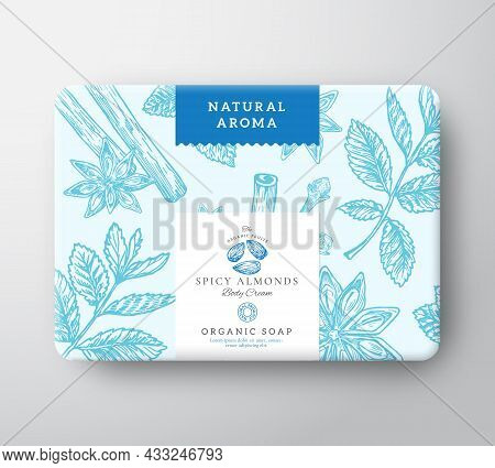 Almonds Nut Soap Cardboard Box. Abstract Vector Wrapped Paper Container With Label Cover. Packaging