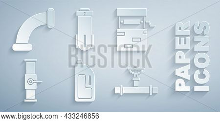 Set Container With Drain Cleaner, Well, Industry Pipe And Valve, Water Filter And Metallic Icon. Vec