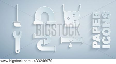 Set Industry Metallic Pipe, Glass With Water, Wrench Spanner, Broken Leaking, And Mop Icon. Vector