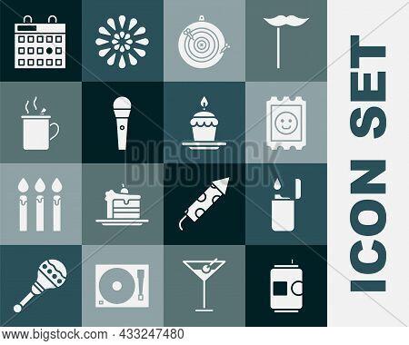 Set Beer Can, Lighter, Lsd Acid Mark, Classic Dart Board And Arrow, Karaoke Microphone, Mulled Wine,