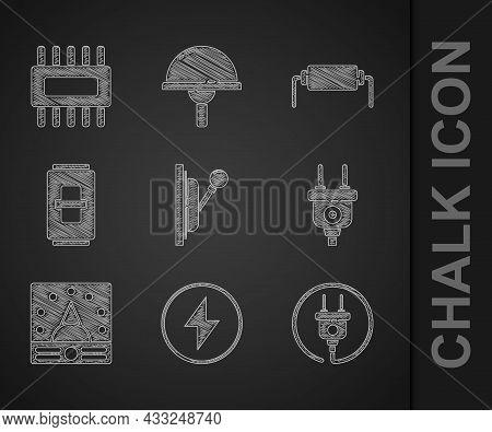 Set Electrical Panel, Lightning Bolt, Plug, Ampere Meter, Multimeter, Voltmeter, Light Switch, Resis