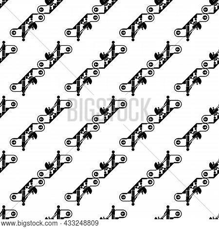 Woman Baby Pram Escalator Pattern Seamless Background Texture Repeat Wallpaper Geometric Vector