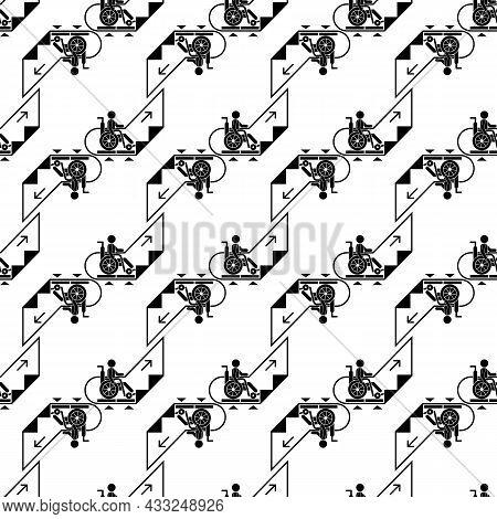 Man Wheelchair Up Escalator Pattern Seamless Background Texture Repeat Wallpaper Geometric Vector