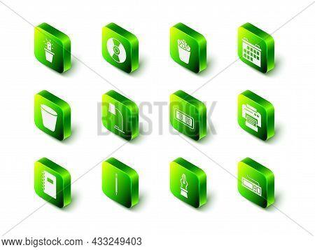 Set Cd Or Dvd Disk, Full Trash Can, Calendar, Printer, Keyboard, Digital Alarm Clock, Fountain Pen N