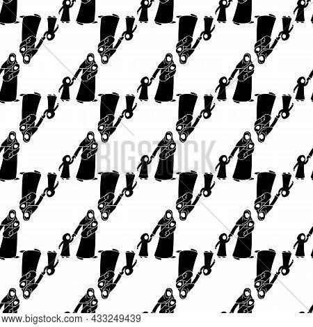 Refugee Mother Children Pattern Seamless Background Texture Repeat Wallpaper Geometric Vector