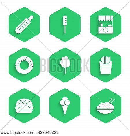 Set Cotton Candy, Ice Cream In Waffle Cone, Rice Bowl With Chopstick, Potatoes French Fries Box, Bur