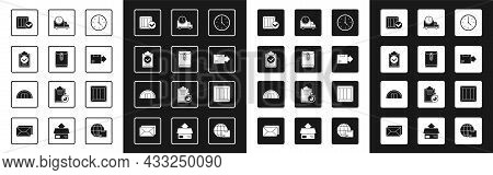 Set Clock, Envelope, Verification Of Delivery List Clipboard, Wooden Box With Check Mark, Carton Car