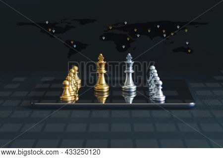 Chess With Background. Concept Of Business Management Strategy And Analysis With Marketing Plan And