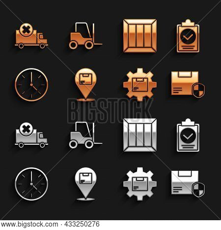 Set Location With Cardboard Box, Verification Of Delivery List Clipboard, Delivery Security Shield,