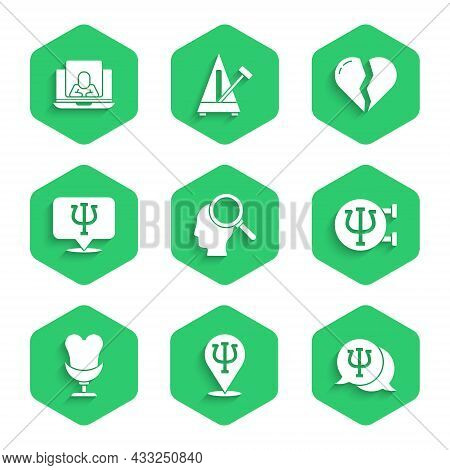 Set Finding A Problem, Psychology, Psi, Armchair, Broken Heart Or Divorce And Psychologist Online Ic