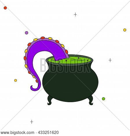Childrens Vector Drawing. Witchs Potion. Octopus Tentacle Being Cooked In A Cauldron For Halloween