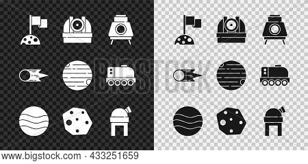 Set Moon With Flag, Astronomical Observatory, Mars Rover, Planet, Asteroid, Comet Falling Down Fast