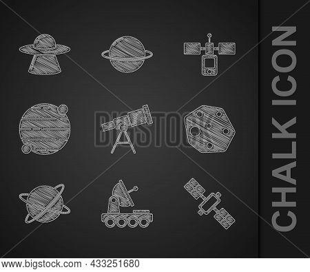 Set Telescope, Mars Rover, Satellite, Asteroid, Satellites Orbiting The Planet, Planet, And Ufo Flyi