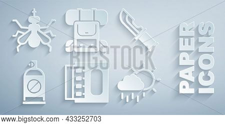 Set Matchbox And Matches, Hunter Knife, Spray Against Insects, Cloud With Rain, Hiking Backpack And