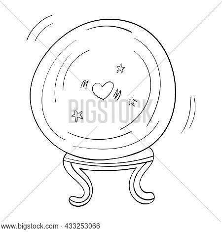 Magic Ball Fortune Teller Hand Drawn Oracle Cartoon Coloring Vector Illustration