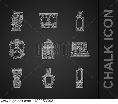 Set Antiperspirant Deodorant Roll, Perfume, Bottle Of Shampoo, Makeup Powder With Mirror, Cream Loti