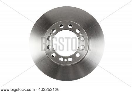 The Front Brake Disc Of A Passenger Car's Top View Is Isolated On White Background. A Spare Part For