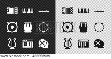 Set Accordion, Music Synthesizer, Drum And Drum Sticks, Ancient Lyre, Stereo Speaker And Icon. Vecto