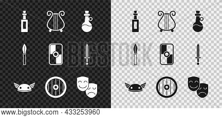Set Bottle Of Olive Oil, Ancient Lyre, Helmet With Wings, Greek Shield, Comedy And Tragedy Masks, Me