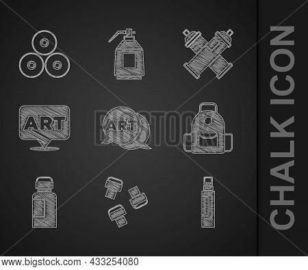 Set Speech Bubble With Text Art, Marker Pen Attachment, School Backpack, Paint, Gouache, Jar, Dye, S