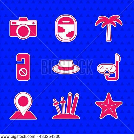 Set Man Hat With Ribbon, Ski And Sticks, Starfish, Diving Mask Snorkel, Location, Please Do Not Dist