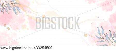 Luxurious Golden Wallpaper And Graceful Branches With Leaves. White Background And Spots Of Pink Wat