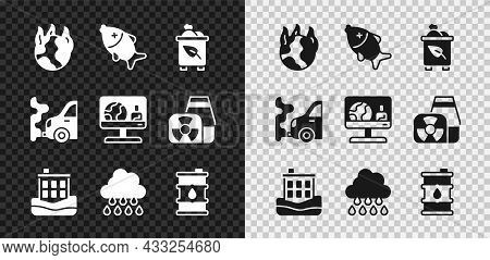 Set Global Warming Fire, Dead Fish, Recycle Bin With Recycle, House Flood, Cloud Rain, Barrel Oil, C