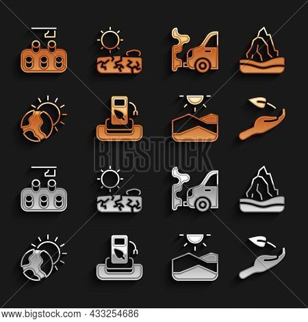 Set Petrol Or Gas Station, Iceberg, Sprout In Hand, Drought, Global Warming, Car Exhaust, Deforestat