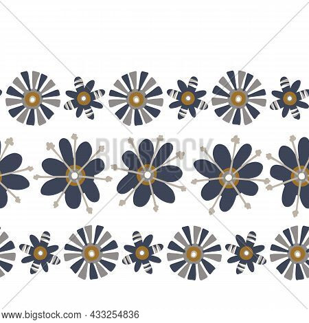 Masculine Floral Seamless Pattern. Classic Retro Flower Motif Shape For Digital Scrapbook Paper And