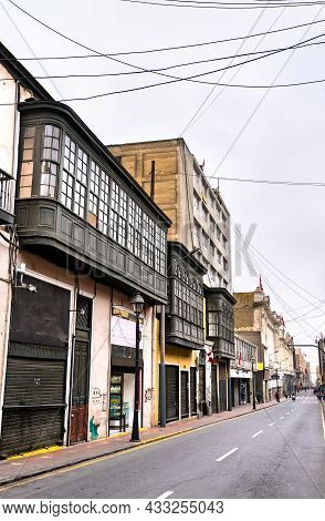 Colonial Buildings With Balconies In Lima. Unesco World Heritage In Peru