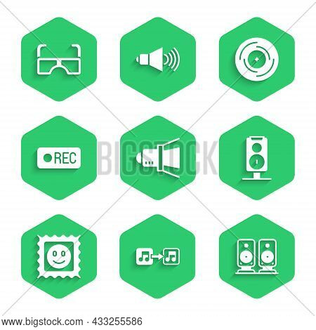 Set Movie Spotlight, Music Note, Tone, Stereo Speaker, Lsd Acid Mark, Record Button, Vinyl Disk And