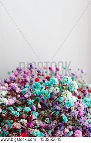 Bouquet Of Multicolored Gypsophila Close Up, Copy Space From Above