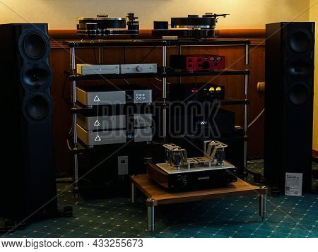 Moscow, Russia - May 23, 2021: Audio Equipment From Mastersound, Merging + Power, Spl, Perlisten At