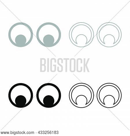 Eyes Look Concept Two Pairs Eye View Set Icon Grey Black Color Vector Illustration Flat Style Simple