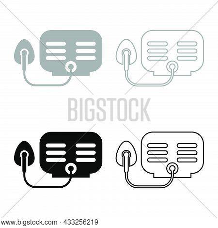 Inhaler Nebulizer Medical Aerosol Equipment Set Icon Grey Black Color Vector Illustration Flat Style