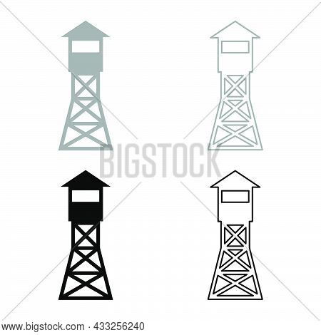 Watching Tower Overview Forest Ranger Fire Site Set Icon Grey Black Color Vector Illustration Flat S