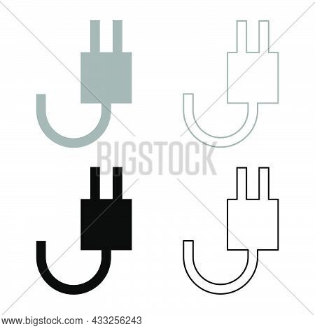 Electrick Fork With Wire Set Icon Grey Black Color Vector Illustration Flat Style Simple Image