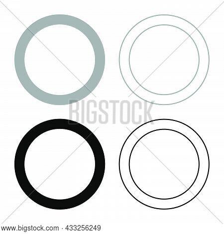Rubber Gasket Grommet Seal Leakage O-ring Reten Set Icon Grey Black Color Vector Illustration Flat S