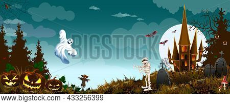 Ghost, Mummy And Pumpkins Against The Background Of The Forest, Castle And Night Sky. Cemetery With