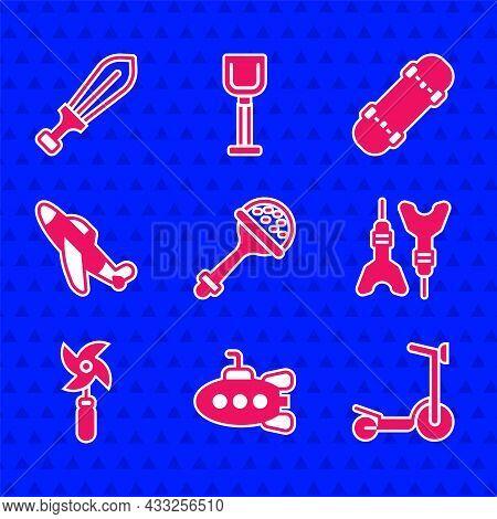 Set Rattle Baby Toy, Submarine, Roller Scooter, Dart Arrow, Pinwheel, Toy Plane, Skateboard And Swor
