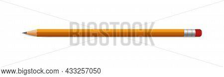 Pencil Mock Up. Lead Orange Pencil With Eraser. Vector Realistic Mockup Template