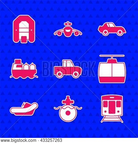 Set Pickup Truck, Submarine, Train And Railway, Cable Car, Rafting Boat, Oil Tanker Ship, Car And Ic
