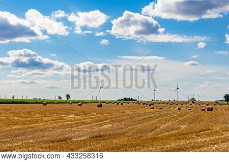 Farmland On A Beautiful Sunny Day Against The Background Of Blue Sky