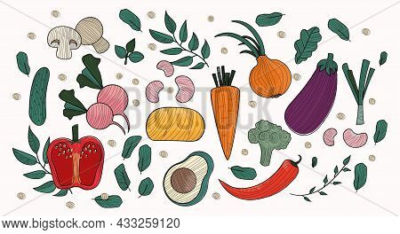 Set Of Vegatables. Pattern Of Useful Vegetables, Healthy Food. Slimming Diets, Pictures For Printing