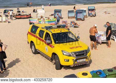 Miedzyzdroje, Poland -05.09.2021 - Wopr Car On The Beach In Miedzyzdroje