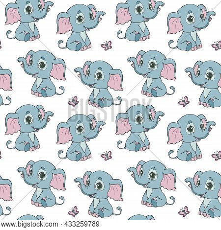 Seamless Pattern With Cute Baby Elephants On A White Background. African Animal Elephant Sits. Vecto