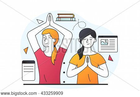 Meditation Concept During. Girls Practice Yoga, Cleansing Head. Concentration Exercises, Recovering